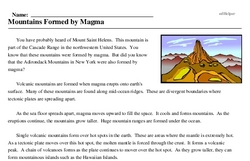 Print <i>Mountains Formed by Magma</i> reading comprehension.