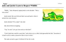 Print <i>Jake and Jackie Learn to Respect Wildlife</i> reading comprehension.
