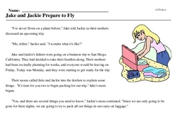 Print <i>Jake and Jackie Prepare to Fly</i> reading comprehension.