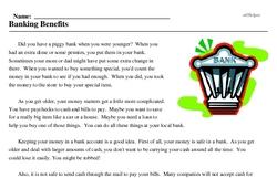 Print <i>Banking Benefits</i> reading comprehension.