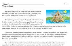 Print <i>Vegetarians</i> reading comprehension.