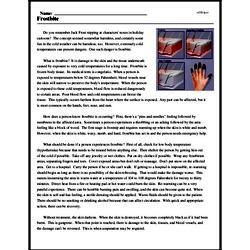 Print <i>Frostbite</i> reading comprehension.