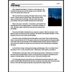 Print <i>Wind Energy</i> reading comprehension.