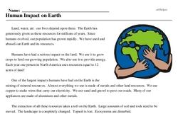 Print <i>Human Impact on Earth</i> reading comprehension.