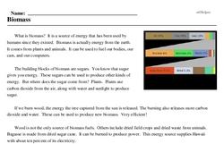 Print <i>Biomass</i> reading comprehension.