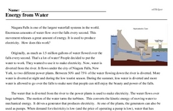 Print <i>Energy from Water</i> reading comprehension.