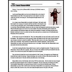 Print <i>A Girl Named Shanawdithit</i> reading comprehension.