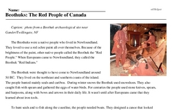 Print <i>Beothuks: The Red People of Canada</i> reading comprehension.