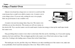 Print <i>Using a Toaster Oven</i> reading comprehension.