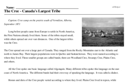 Print <i>The Cree - Canada's Largest Tribe</i> reading comprehension.