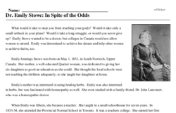 Print <i>Dr. Emily Stowe: In Spite of the Odds</i> reading comprehension.