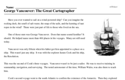 Print <i>George Vancouver: The Great Cartographer</i> reading comprehension.
