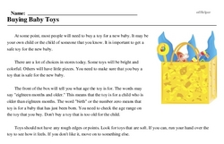 Print <i>Buying Baby Toys</i> reading comprehension.