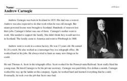 Print <i>Andrew Carnegie</i> reading comprehension.