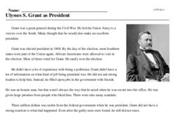 Print <i>Ulysses S. Grant as President</i> reading comprehension.