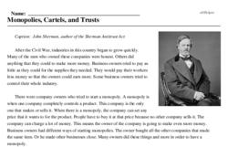 Print <i>Monopolies, Cartels, and Trusts</i> reading comprehension.