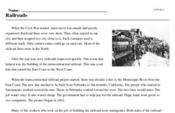 Print <i>Railroads</i> reading comprehension.