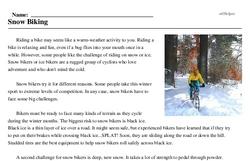 Print <i>Snow Biking</i> reading comprehension.
