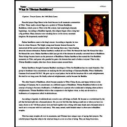 Print <i>What Is Tibetan Buddhism?</i> reading comprehension.