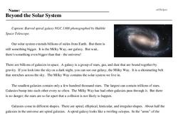Print <i>Beyond the Solar System</i> reading comprehension.