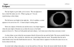 Print <i>Eclipses</i> reading comprehension.
