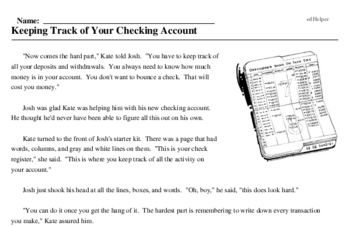 Print <i>Keeping Track of Your Checking Account</i> reading comprehension.
