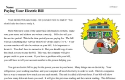Print <i>Paying Your Electric Bill</i> reading comprehension.