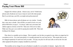 Print <i>Paying Your Phone Bill</i> reading comprehension.