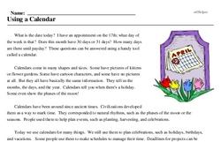 Print <i>Using a Calendar</i> reading comprehension.