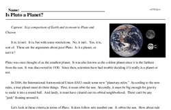 Print <i>Is Pluto a Planet?</i> reading comprehension.
