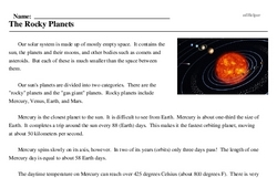 Print <i>The Rocky Planets</i> reading comprehension.