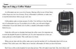 Print <i>Tips on Using a Coffee Maker</i> reading comprehension.