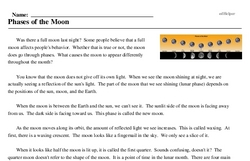 Print <i>Phases of the Moon</i> reading comprehension.