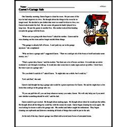 Print <i>Garon's Garage Sale</i> reading comprehension.