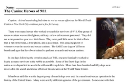 Print <i>The Canine Heroes of 9/11</i> reading comprehension.