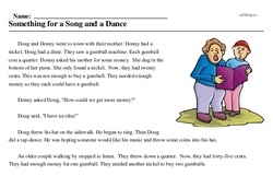 Print <i>Something for a Song and a Dance</i> reading comprehension.