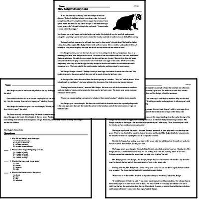 Print <i>Mrs. Badger's Honey Cake</i> reading comprehension.