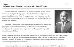 Print <i>Joshua Lionel Cowen: Inventor of Lionel Trains</i> reading comprehension.