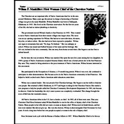 Print <i>Wilma P. Mankiller: First Woman Chief of the Cherokee Nation</i> reading comprehension.