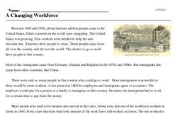 Print <i>A Changing Workforce</i> reading comprehension.