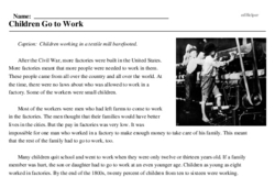 Print <i>Children Go to Work</i> reading comprehension.