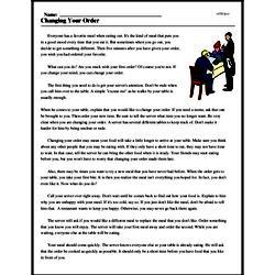 Print <i>Changing Your Order</i> reading comprehension.