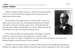 Print <i>Labor Unions</i> reading comprehension.