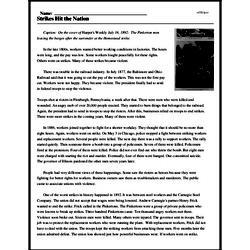 Print <i>Strikes Hit the Nation</i> reading comprehension.