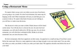 Print <i>Using a Restaurant Menu</i> reading comprehension.