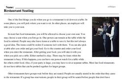 Print <i>Restaurant Seating</i> reading comprehension.