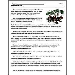 Print <i>Seminole Wars</i> reading comprehension.