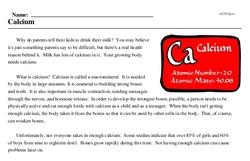 Print <i>Calcium</i> reading comprehension.