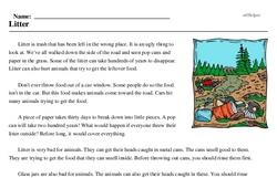 Print <i>Litter</i> reading comprehension.