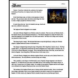 Print <i>Anglicanism</i> reading comprehension.
